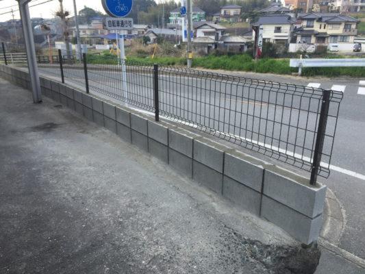 鉄筋入りでフェンス付のブロック塀 /宇美町