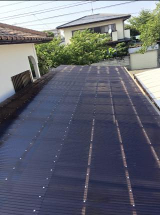 強度はガラスの200倍!!高耐候不燃のポリカーボネート板で屋根を張替 /福岡市